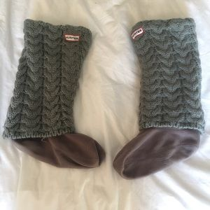 Gray Hunter basketweave cuff welly socks